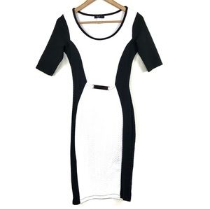 Love J Contrast Color Bodycon Dress Black & White
